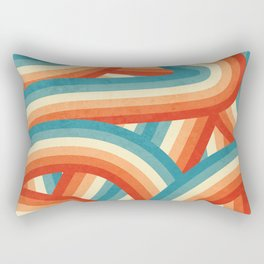 Red, Orange, Blue and Cream 70's Style Rainbow Stripes Rectangular Pillow