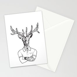bambi's a grown up now  Black Stationery Cards