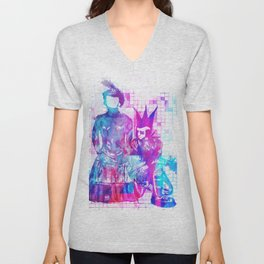 Cotton Candy Faceless Goth woman and punk dude Unisex V-Neck