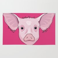 pig Area & Throw Rugs featuring Pig by Compassion Collective