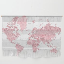 Light pink, muted pink and dusty pink watercolor world map with cities Wall Hanging