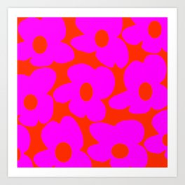 Pink Retro Flowers Orange Red Background #decor #society6 #buyart Art Print