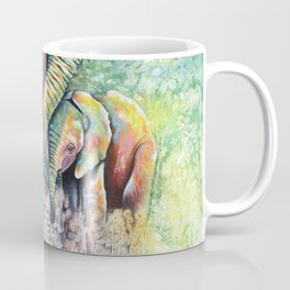 Colorful Mother Elephant and Baby Coffee Mug