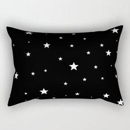 Scattered Stars - white on black Rectangular Pillow