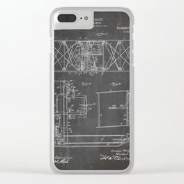 Wright Brother'S Aircraft Patent - Aviation Art - Black Chalkboard Clear iPhone Case