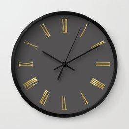 Gold Roman Numerals Wall Clock on Dark Grey Background Wall Clock