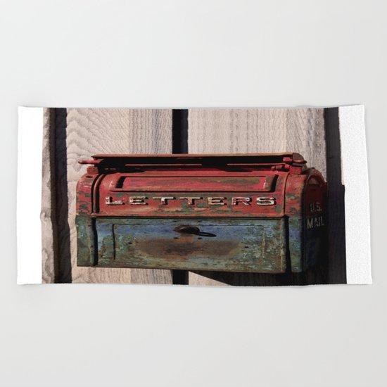 Vintage Postal Drop Box Beach Towel