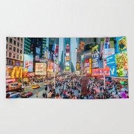 Times Square Tourists Beach Towel