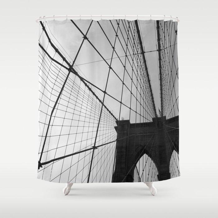 Brooklyn Bridge Black And White Shower Curtain
