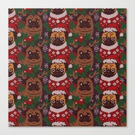 Christmas Party With The Pug Canvas Print