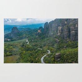 Meteora Monastery Landscape Rug