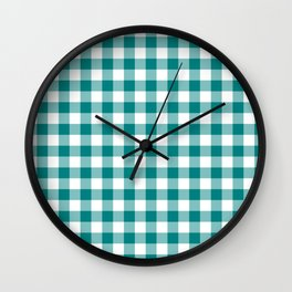 Simple Teal and White Gingham Pattern Wall Clock