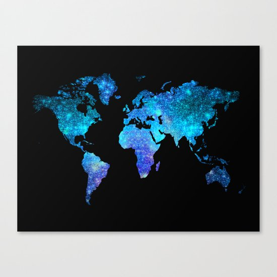 Space World map Canvas Print