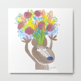 Momma Mouse Metal Print