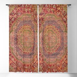 Bohemian Medallion III // 15th Century Old Distressed Red Green Purple Lavender Ornate Rug Pattern Blackout Curtain
