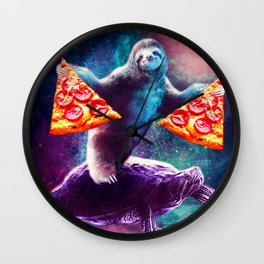 Funny Space Sloth With Pizza Riding On Turtle Wall Clock