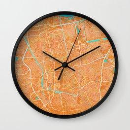 Jakarta, Indonesia, Gold, Blue, City, Map Wall Clock