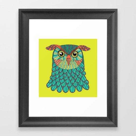 owl - Lime green Framed Art Print