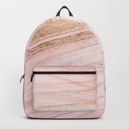 Blush Pink And Gold Mermaid Marble Waves Backpack