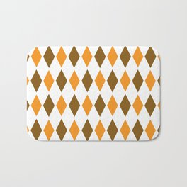 Diamond orange brown pattern Bath Mat