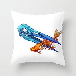 Heron and Goldfish Throw Pillow