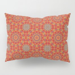 Red Pattern With Accents of Lilac and Gold Pillow Sham
