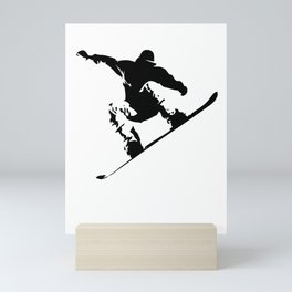 Snowboarding Black on White Abstract Snow Boarder Mini Art Print
