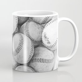 Bucket of Baseballs in Black and White Coffee Mug