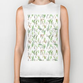 Abstract hand painted pink green lilac watercolor leaves floral Biker Tank