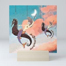 Riding Seahorses Mini Art Print