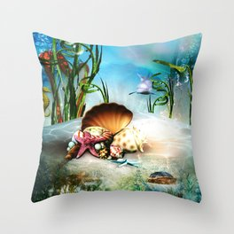 Underwater Sea Life Throw Pillow