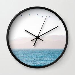 Modern Minimalist Pastel Blue Landscape Ocean Mountains Flock Of Birds Flying Wall Clock