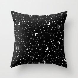 Black Space Theme Throw Pillow