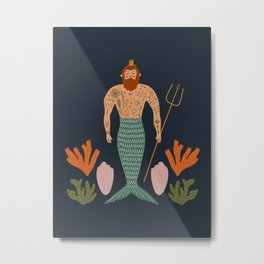 Mid Century Magic Male Mermaid with Tattoos Aquatic Coral Sea Shells Fantasy Fun Illustration Hipster Man Metal Print