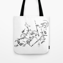 Exploded Bicycle Tote Bag