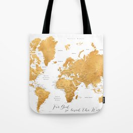 For God so loved the world, world map in gold Tote Bag