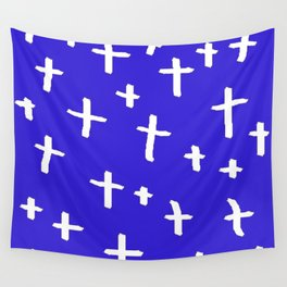 blue white cross Wall Tapestry