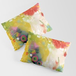 abstract floral art in yellow green and rose magenta colors Pillow Sham