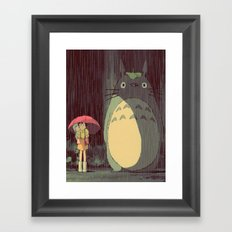 My Neighbor Totoro (Waiting for the bus in the rain IN THE RAIN) Framed Art Print