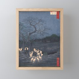 Utagawa Hiroshige - New Year's Eve Foxfires at the Changing Tree Framed Mini Art Print