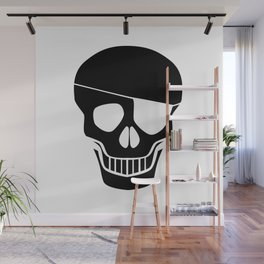 Black Skull Silhouette With Eye Patch Wall Mural