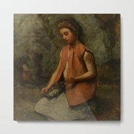 "Jean-Baptiste-Camille Corot ""Girl Weaving a Garland"" Metal Print"