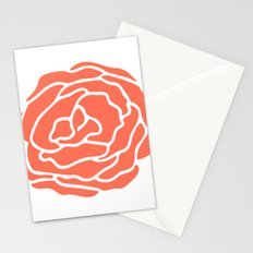 Rose Deep Coral on White Stationery Cards