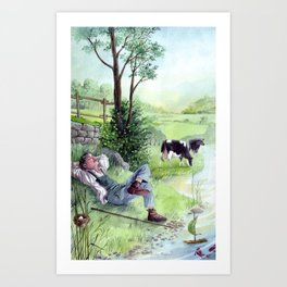 Bucolic landscape - The shepherd's rest - Countryside and cows Art Print