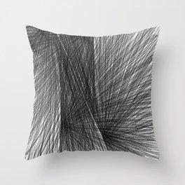 Black & White Radiating Lines Mid Century Modern Geometric Abstract Throw Pillow