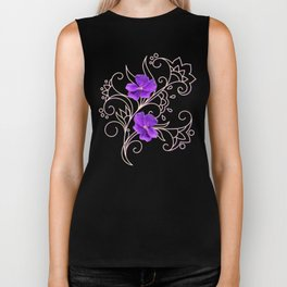two violets on gray Biker Tank