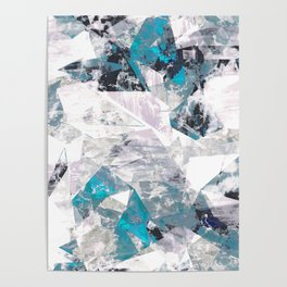 Textured blue white marble wall Poster