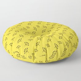 Yellow And Black Queen Anne's Lace pattern Floor Pillow
