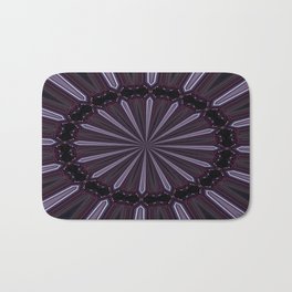Eggplant and Pale Aubergine Abstract Floral Pattern Bath Mat