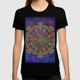 Gold Mandala on Colorful Cosmic Background T-shirt